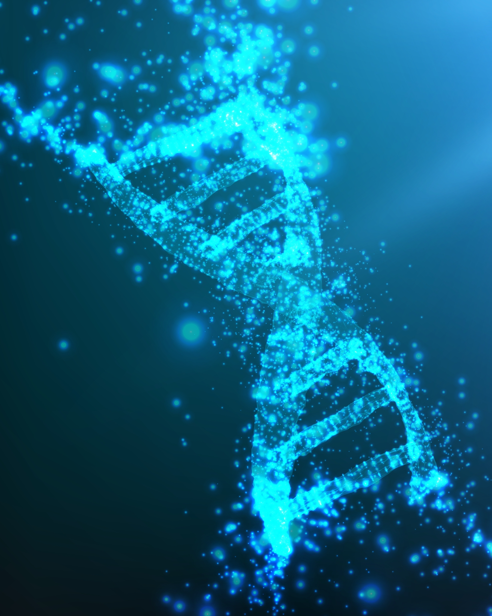 Abstract vector blue point mesh background. Part of DNA thread in blue color. Futuristic medicine style card. Elegant background for business presentations.